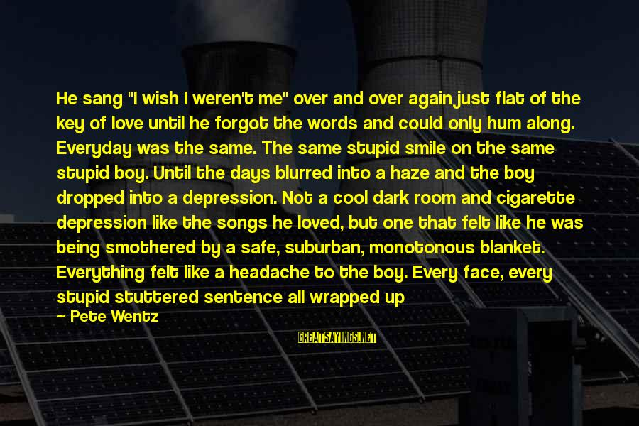 """Smothered Love Sayings By Pete Wentz: He sang """"I wish I weren't me"""" over and over again just flat of the"""