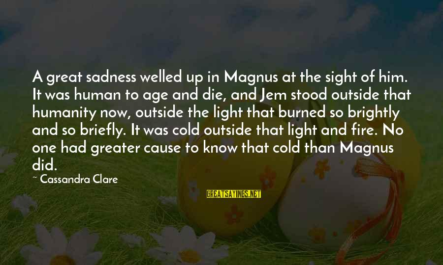So Cold Outside Sayings By Cassandra Clare: A great sadness welled up in Magnus at the sight of him. It was human