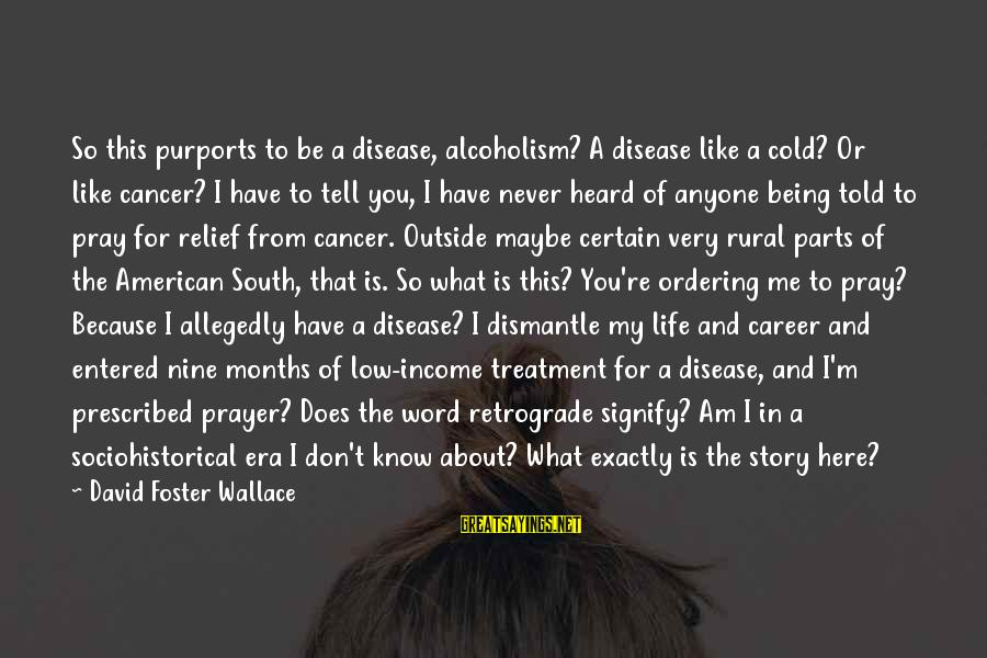 So Cold Outside Sayings By David Foster Wallace: So this purports to be a disease, alcoholism? A disease like a cold? Or like