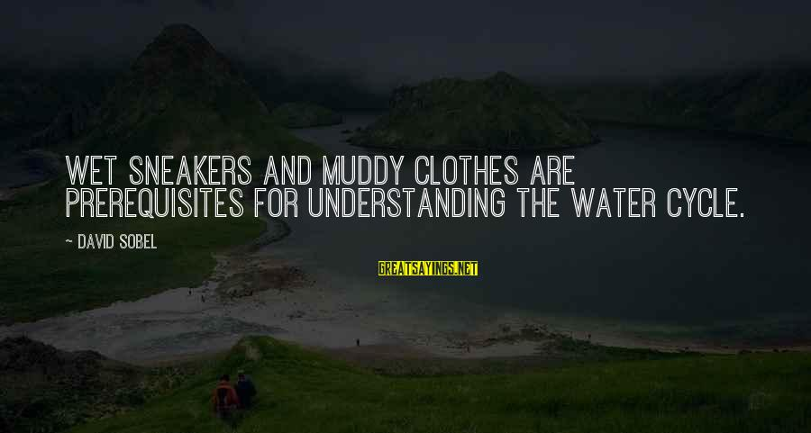 Sobel Sayings By David Sobel: Wet sneakers and muddy clothes are prerequisites for understanding the water cycle.