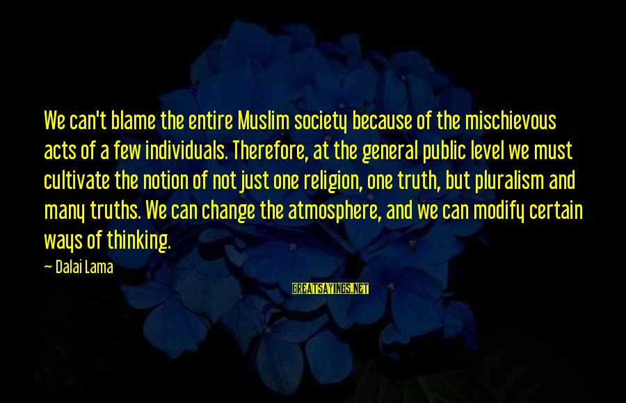 Society Change Sayings By Dalai Lama: We can't blame the entire Muslim society because of the mischievous acts of a few
