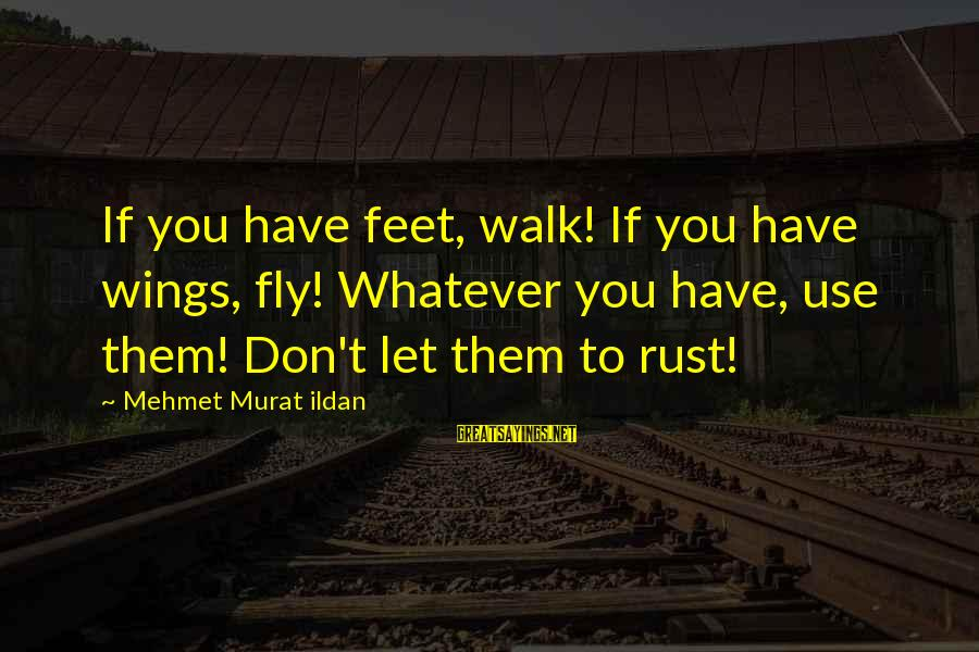 Sohail Sayings By Mehmet Murat Ildan: If you have feet, walk! If you have wings, fly! Whatever you have, use them!