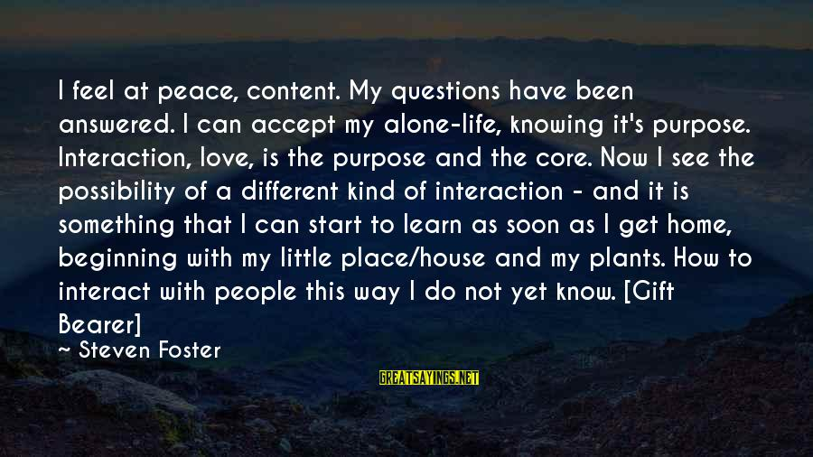Something I Love To Do Sayings By Steven Foster: I feel at peace, content. My questions have been answered. I can accept my alone-life,