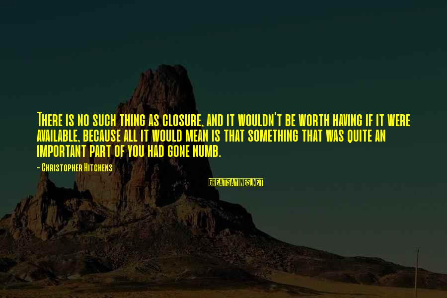 Something Worth It Sayings By Christopher Hitchens: There is no such thing as closure, and it wouldn't be worth having if it