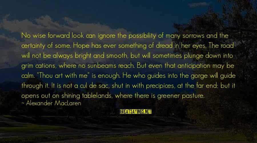 Sometimes I Just Shut Down Sayings By Alexander MacLaren: No wise forward look can ignore the possibility of many sorrows and the certainty of