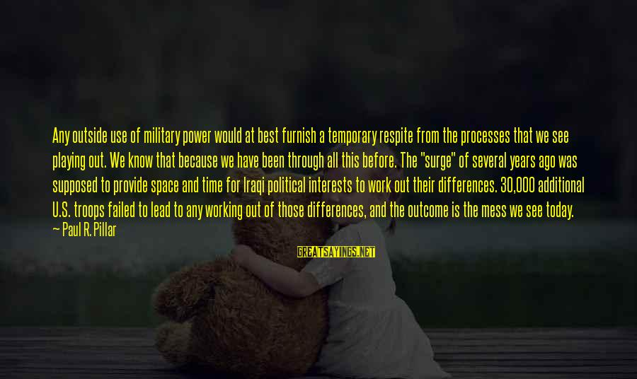 Space Sayings By Paul R. Pillar: Any outside use of military power would at best furnish a temporary respite from the