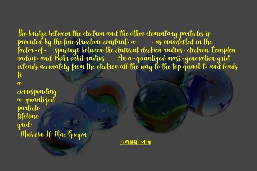 Spacings Sayings By Malcolm H. Mac Gregor: The bridge between the electron and the other elementary particles is provided by the fine