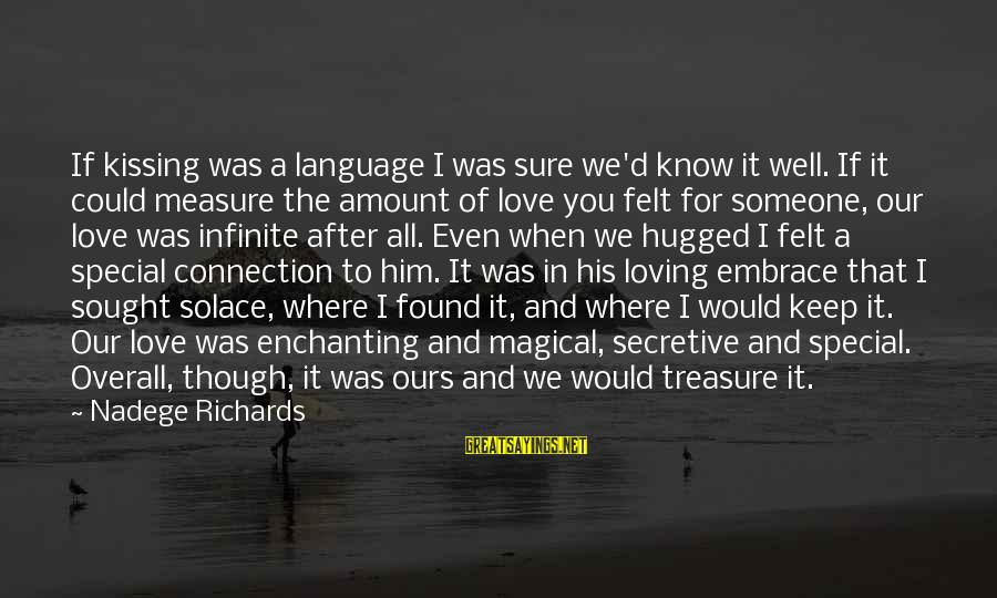 Special I Love You Sayings By Nadege Richards: If kissing was a language I was sure we'd know it well. If it could