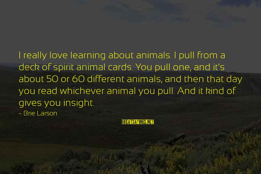 Spirit Love Sayings By Brie Larson: I really love learning about animals. I pull from a deck of spirit animal cards.