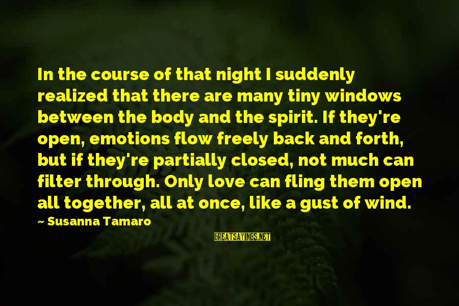 Spirit Love Sayings By Susanna Tamaro: In the course of that night I suddenly realized that there are many tiny windows