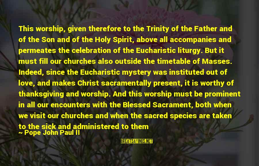 Spirit Of Thanksgiving Sayings By Pope John Paul II: This worship, given therefore to the Trinity of the Father and of the Son and