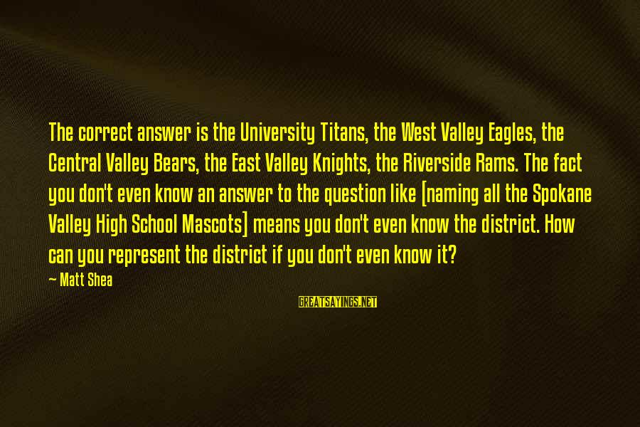 Spokane Sayings By Matt Shea: The correct answer is the University Titans, the West Valley Eagles, the Central Valley Bears,
