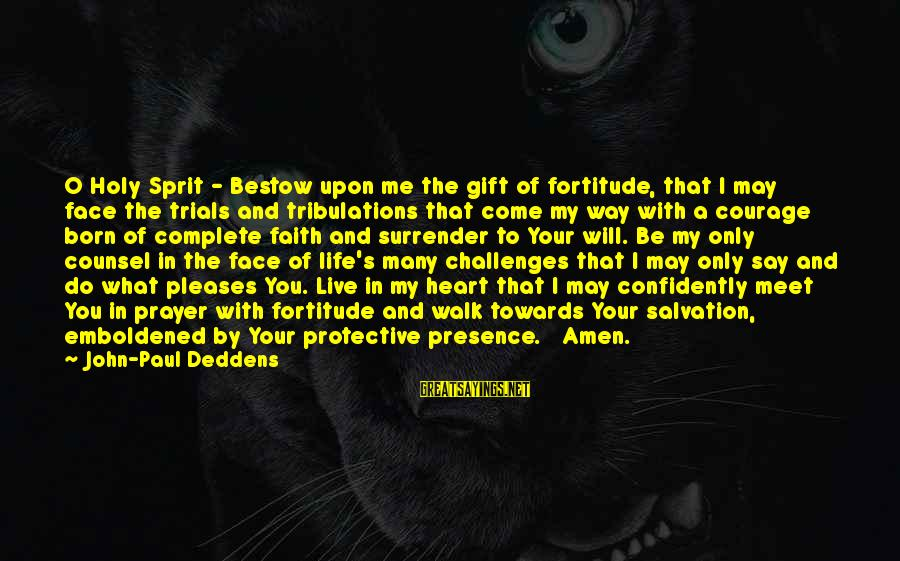 Sprit Sayings By John-Paul Deddens: O Holy Sprit - Bestow upon me the gift of fortitude, that I may face