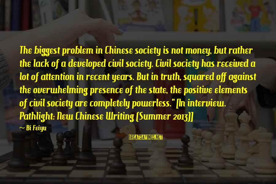 Squared Sayings By Bi Feiyu: The biggest problem in Chinese society is not money, but rather the lack of a