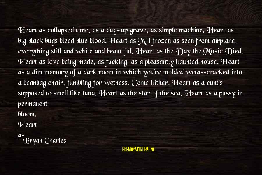Squared Sayings By Bryan Charles: Heart as collapsed time, as a dug-up grave, as simple machine. Heart as big black