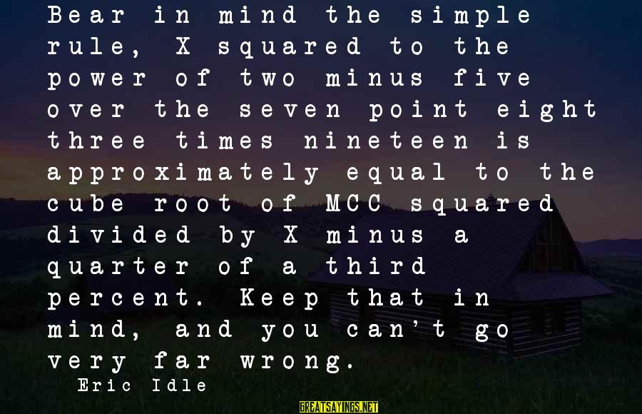 Squared Sayings By Eric Idle: Bear in mind the simple rule, X squared to the power of two minus five