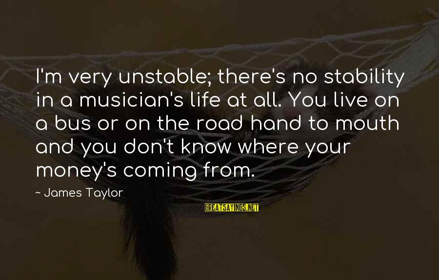 Stability In Life Sayings By James Taylor: I'm very unstable; there's no stability in a musician's life at all. You live on