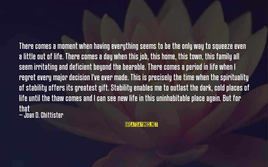 Stability In Life Sayings By Joan D. Chittister: There comes a moment when having everything seems to be the only way to squeeze