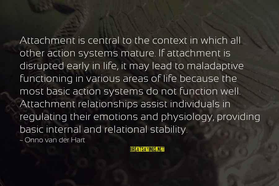 Stability In Life Sayings By Onno Van Der Hart: Attachment is central to the context in which all other action systems mature. If attachment
