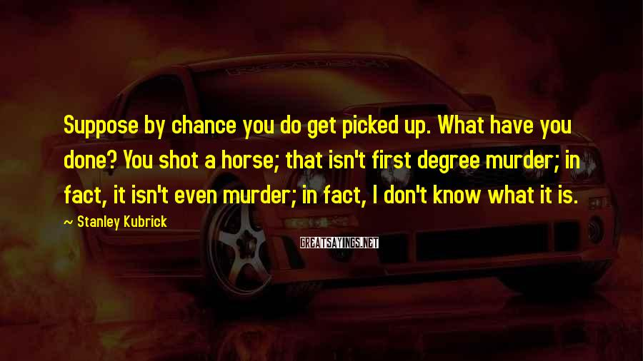 Stanley Kubrick Sayings: Suppose by chance you do get picked up. What have you done? You shot a