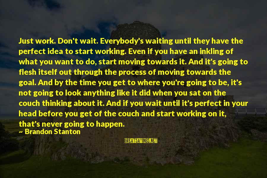 Stanton's Sayings By Brandon Stanton: Just work. Don't wait. Everybody's waiting until they have the perfect idea to start working.