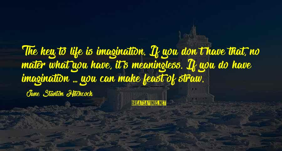 Stanton's Sayings By Jane Stanton Hitchcock: The key to life is imagination. If you don't have that, no mater what you