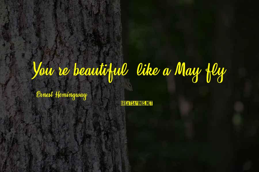 Starcraft Units Sayings By Ernest Hemingway,: You're beautiful, like a May fly.