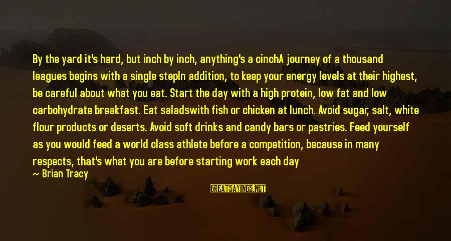 Start Your Day With Sayings By Brian Tracy: By the yard it's hard, but inch by inch, anything's a cinchA journey of a