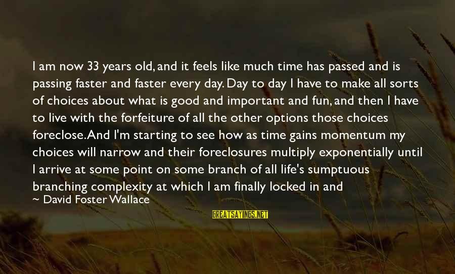 Starting A Good Day Sayings By David Foster Wallace: I am now 33 years old, and it feels like much time has passed and