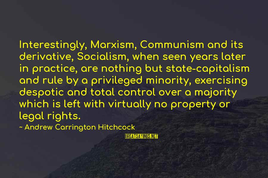 State Property Sayings By Andrew Carrington Hitchcock: Interestingly, Marxism, Communism and its derivative, Socialism, when seen years later in practice, are nothing