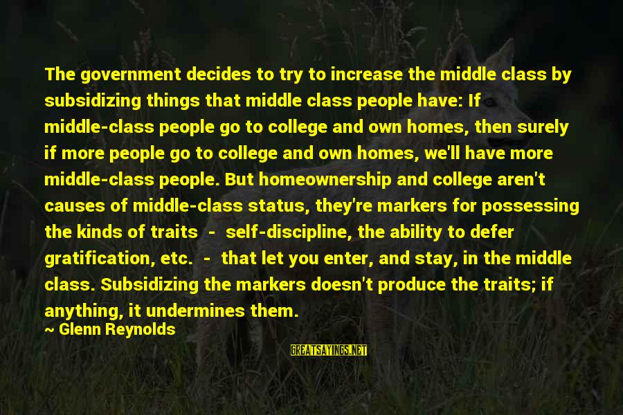 Stay And Go Sayings By Glenn Reynolds: The government decides to try to increase the middle class by subsidizing things that middle