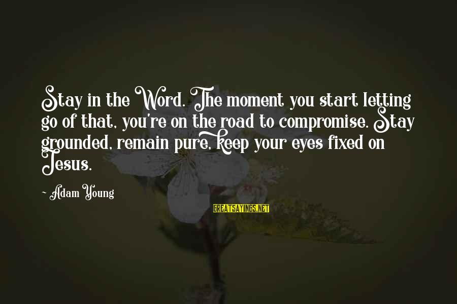 Stay Grounded Sayings By Adam Young: Stay in the Word. The moment you start letting go of that, you're on the