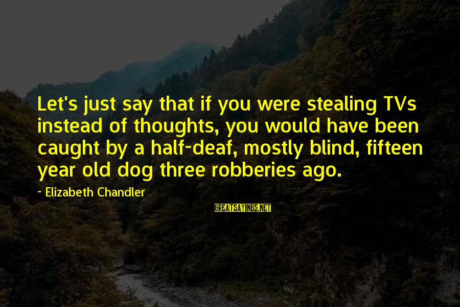 Stealing Sayings By Elizabeth Chandler: Let's just say that if you were stealing TVs instead of thoughts, you would have
