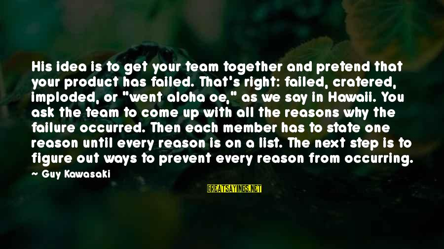 Step Right Up Sayings By Guy Kawasaki: His idea is to get your team together and pretend that your product has failed.