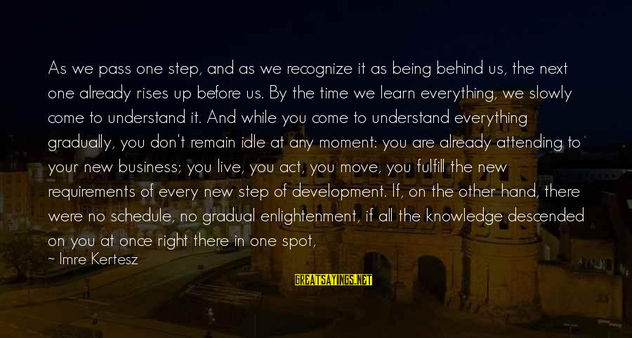 Step Right Up Sayings By Imre Kertesz: As we pass one step, and as we recognize it as being behind us, the