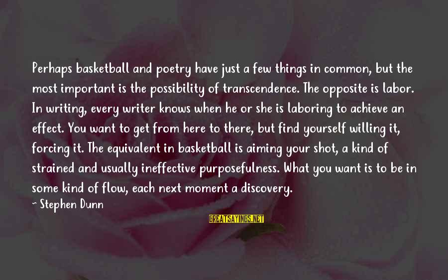 Stephen Dunn Sayings By Stephen Dunn: Perhaps basketball and poetry have just a few things in common, but the most important
