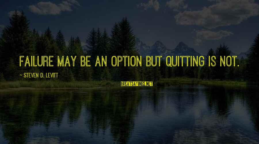 Steven Levitt Sayings By Steven D. Levitt: Failure may be an option but quitting is not.