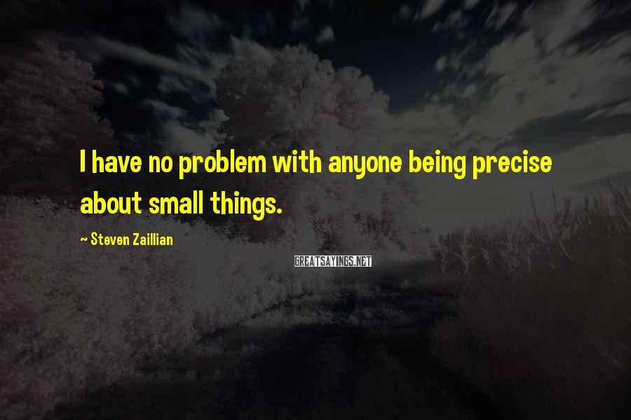 Steven Zaillian Sayings: I have no problem with anyone being precise about small things.