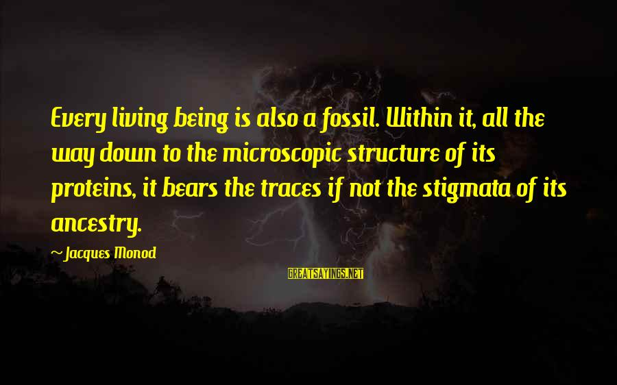 Stigmata Sayings By Jacques Monod: Every living being is also a fossil. Within it, all the way down to the