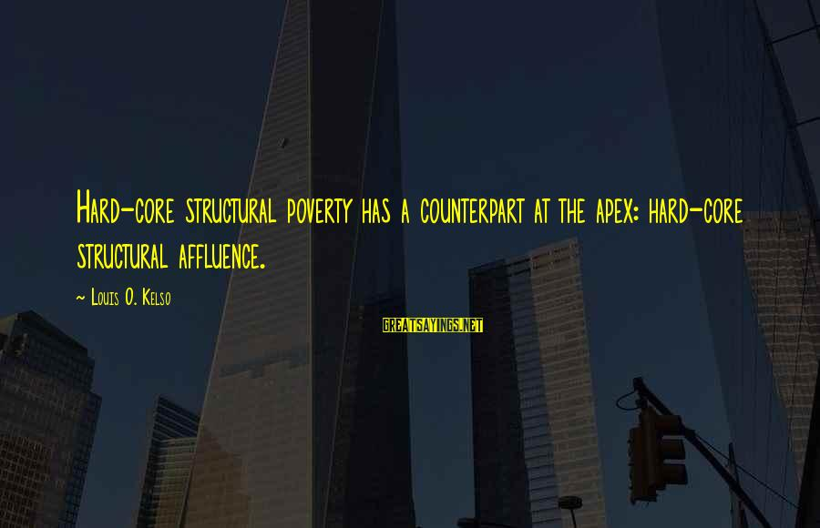 Stiles And Lydia Sayings By Louis O. Kelso: Hard-core structural poverty has a counterpart at the apex: hard-core structural affluence.