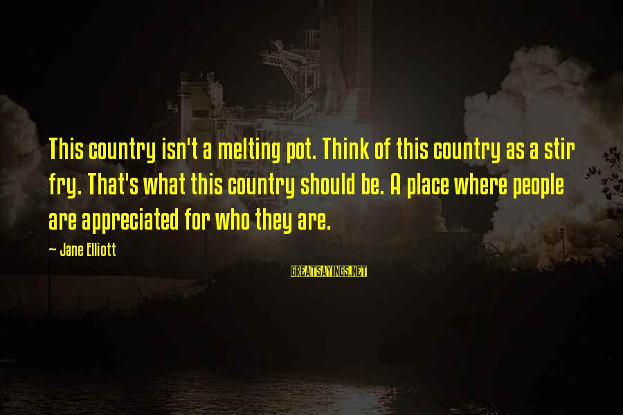 Stir Fry Sayings By Jane Elliott: This country isn't a melting pot. Think of this country as a stir fry. That's