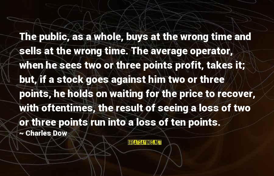 Stock Operator Sayings By Charles Dow: The public, as a whole, buys at the wrong time and sells at the wrong