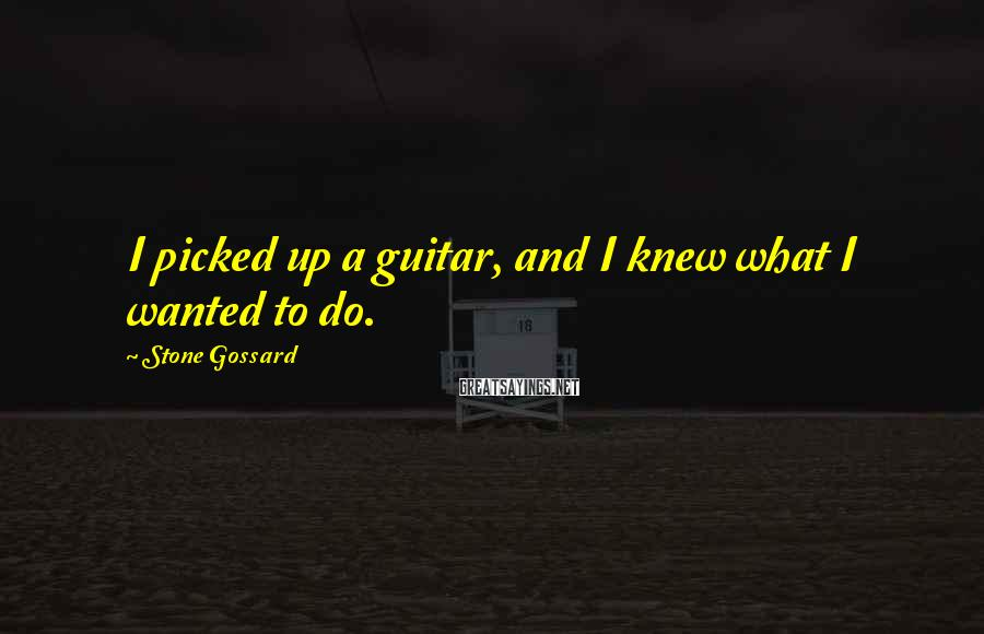 Stone Gossard Sayings: I picked up a guitar, and I knew what I wanted to do.