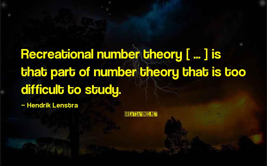 Stop Mocking Sayings By Hendrik Lenstra: Recreational number theory [ ... ] is that part of number theory that is too