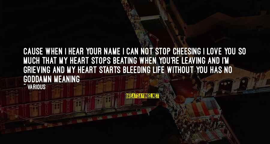 Stops Sayings By Various: Cause when I hear your name I can not stop cheesing I love you so