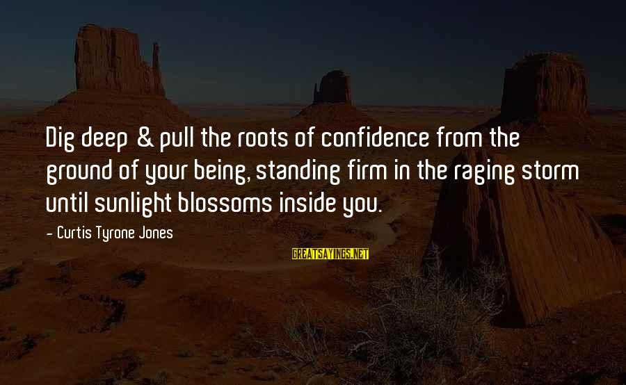 Storms In Your Life Sayings By Curtis Tyrone Jones: Dig deep & pull the roots of confidence from the ground of your being, standing