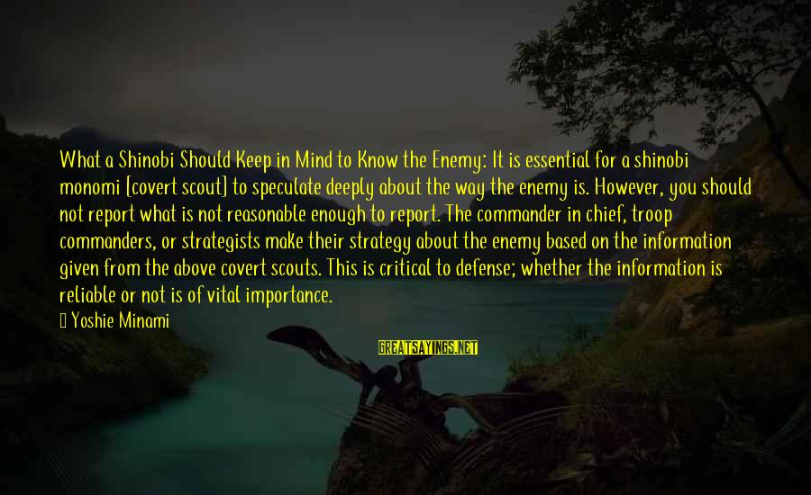 Strategists Sayings By Yoshie Minami: What a Shinobi Should Keep in Mind to Know the Enemy: It is essential for