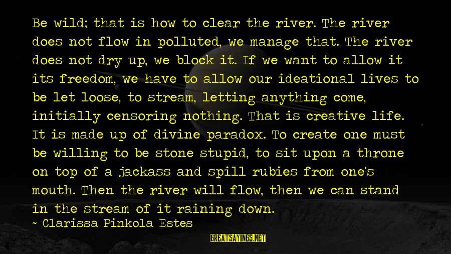 Stream Flow Sayings By Clarissa Pinkola Estes: Be wild; that is how to clear the river. The river does not flow in