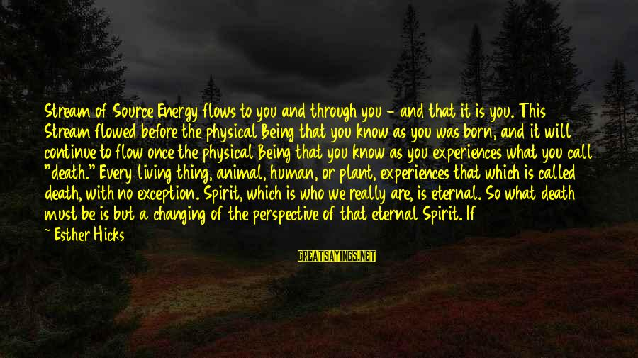 Stream Flow Sayings By Esther Hicks: Stream of Source Energy flows to you and through you - and that it is