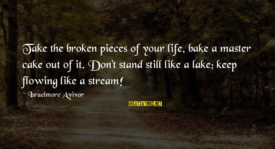 Stream Flow Sayings By Israelmore Ayivor: Take the broken pieces of your life, bake a master cake out of it. Don't